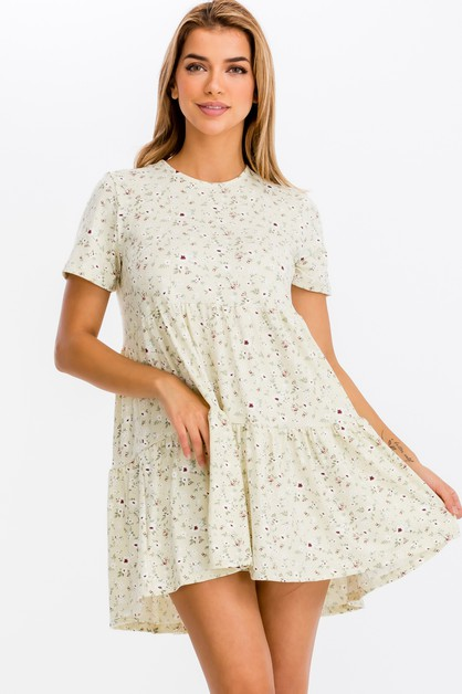 Floral Babydoll Tunic Dress - orangeshine.com