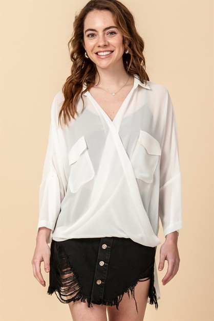 HIGH LOW CROSSOVER BLOUSE WITH FRONT - orangeshine.com