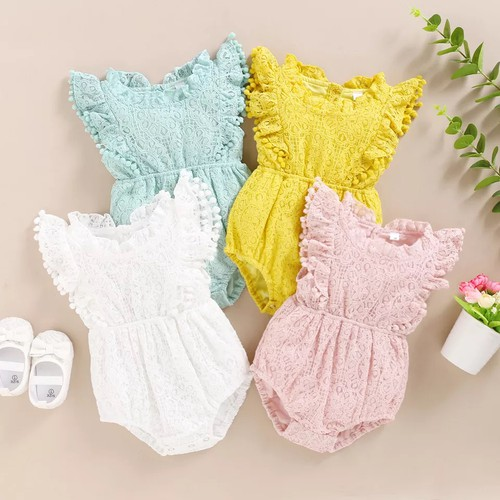 Baby girls lace rompers with pom pom - orangeshine.com