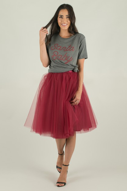 Burgundy Tulle Skirt - orangeshine.com