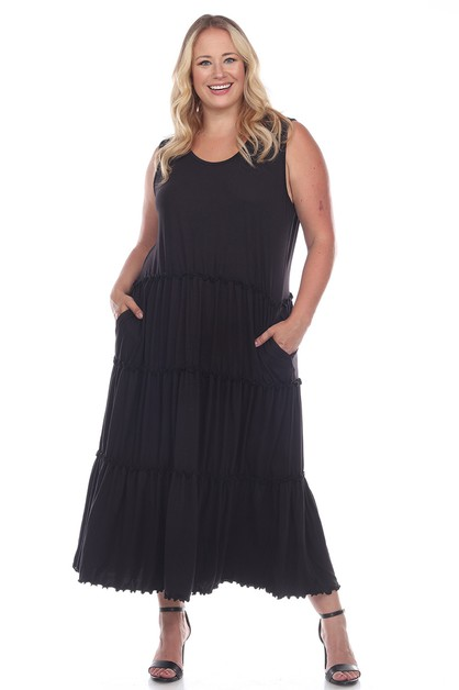 Plus Size Scoop Neck Tiered Midi Dre - orangeshine.com