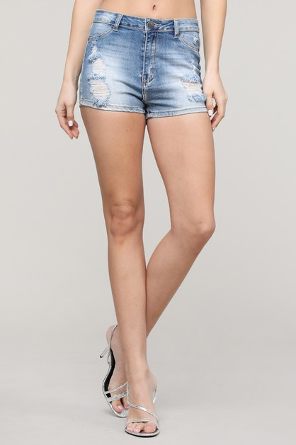 High Waist Ripped Short Jeans - orangeshine.com