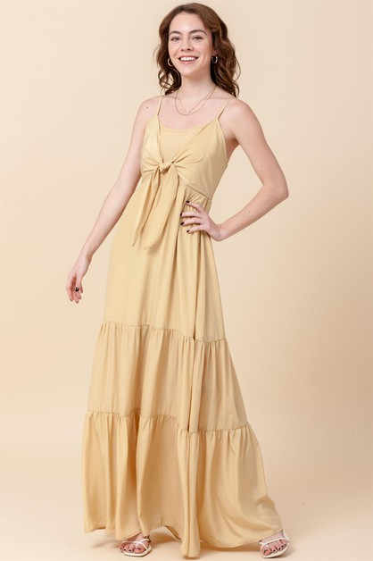 TIERED MAXI DRESS WITH FRONT TIE - orangeshine.com