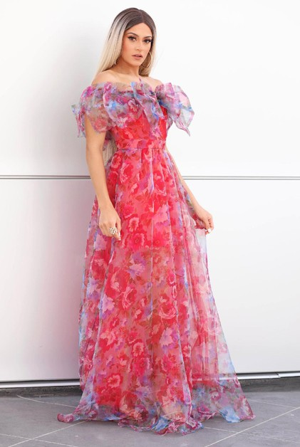 Off Sholder Floral Tulle Long Dress - orangeshine.com