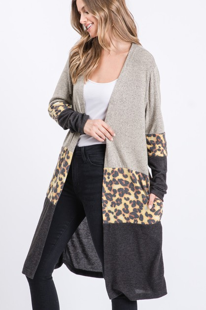 Animal Color Block Hacci Cardigan - orangeshine.com