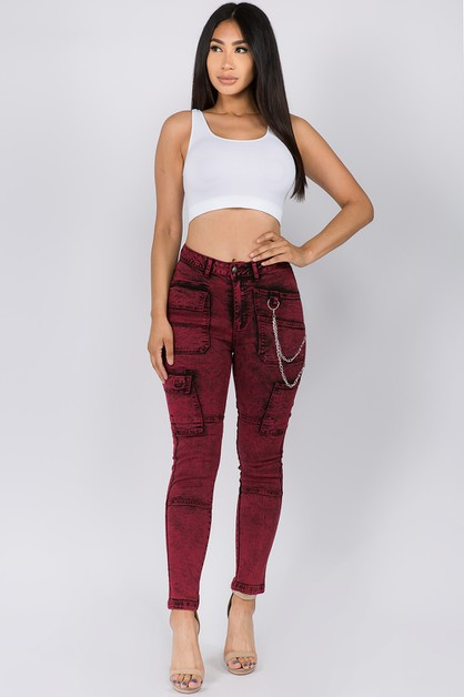HIGH WAIST MINERAL WASHED SKINNY - orangeshine.com