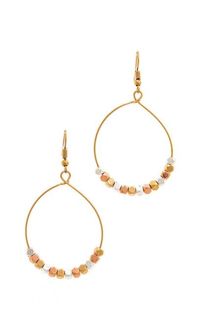 CHIC BEADED HOOP DROP EARRING - orangeshine.com