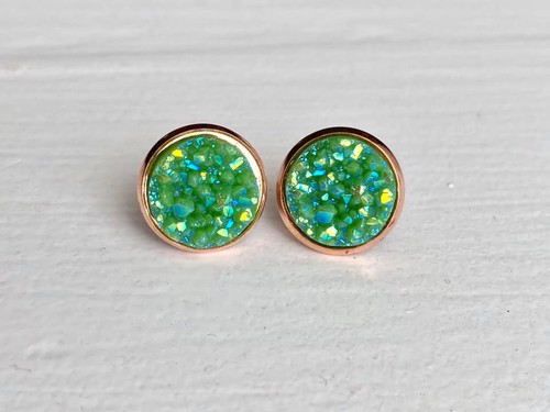 Green Druzy in Rose Gold Setting - orangeshine.com