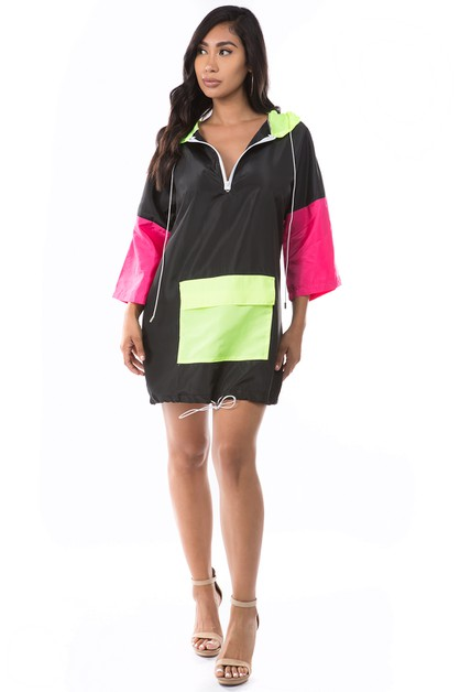 Colorblock Drawstring Windbreaker - orangeshine.com