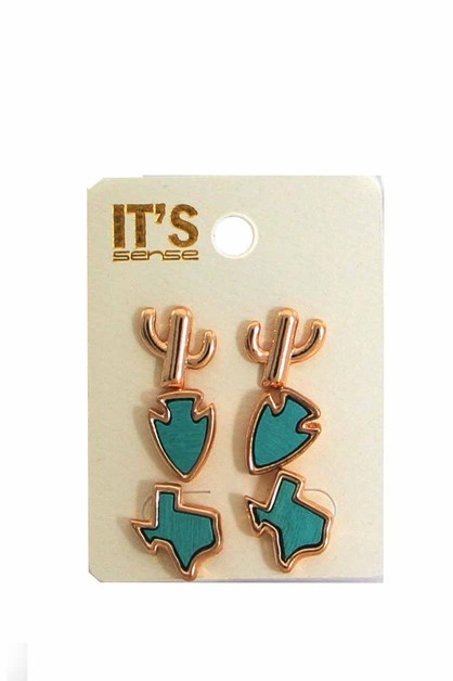 TEXAS THEME  POST EARRING SET  - orangeshine.com