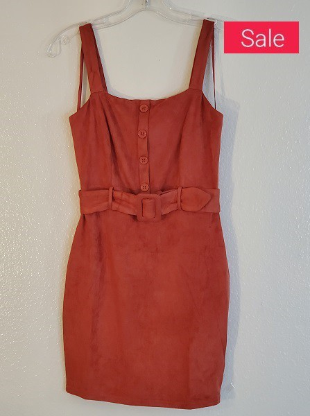 SUEDE MINI DRESS WITH BELT - orangeshine.com