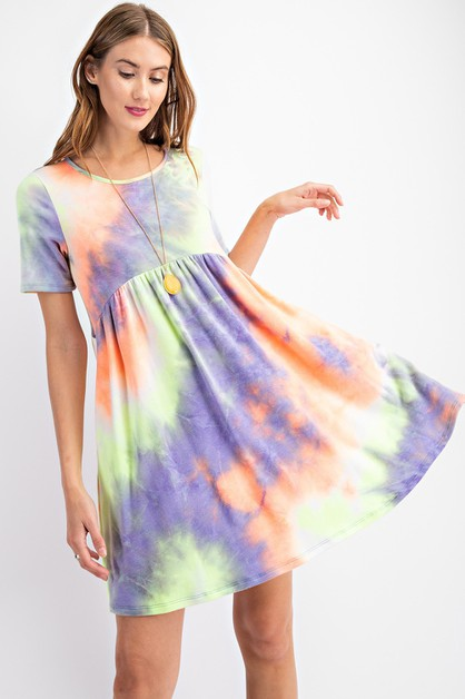 NEON TIE DYE PRINTED DRESS - orangeshine.com