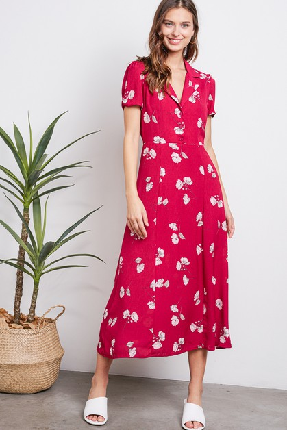 Cherry Floral School Girl Midi Dress - orangeshine.com