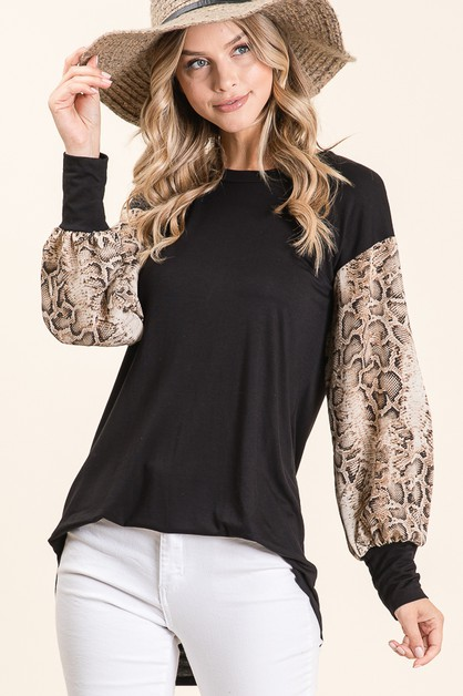 LOOSE FIT SNAKESKIN SLEEVE TOP  - orangeshine.com