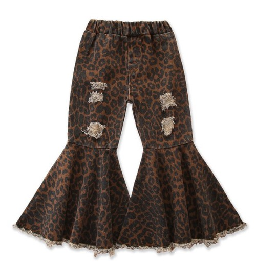 Distressed leopard bell bottom jeans - orangeshine.com