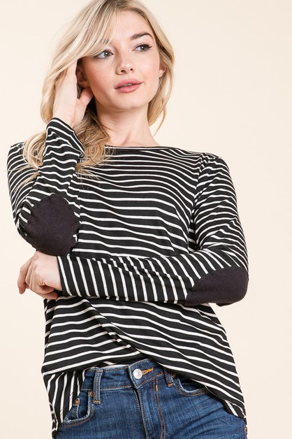LONG SLEEVE ELBOW PATCH TOP  - orangeshine.com