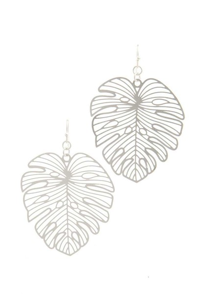 CUT OUT TROPICAL LEAF DROP EARRING - orangeshine.com