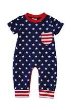 Flag print patriotic baby romper - orangeshine.com