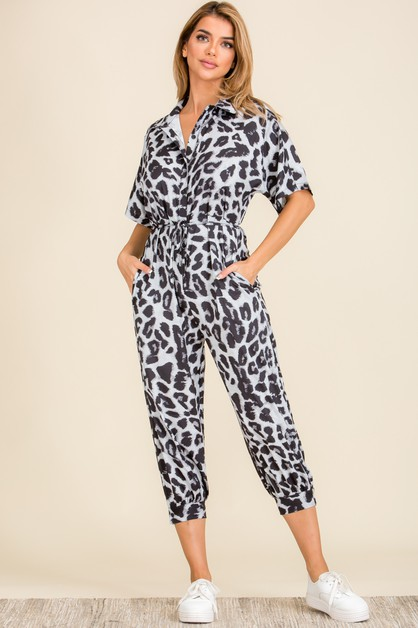 Leopard Button Down Capri Jumpsuit  - orangeshine.com