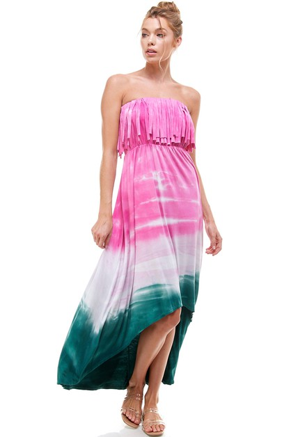 FRINGE HORIZON DYE HI-LOW DRESS - orangeshine.com
