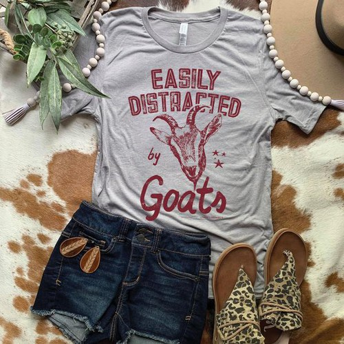 EASILY DISTRACTED BY GOATS TEES - orangeshine.com