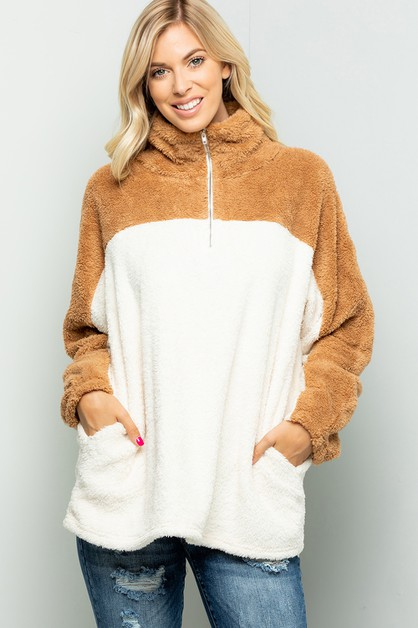 FAUX FUR OVER SIZE PULLOVER TOP - orangeshine.com