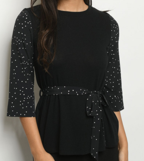 Polka Dot Contrast Blouse with Tie - orangeshine.com