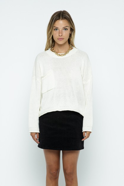 Cotton Slouchy Pocket Sweater - orangeshine.com