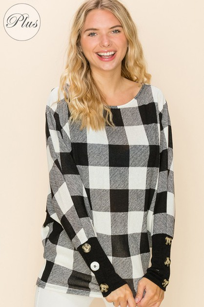 Casual Plaid Print Long Sleeve Top - orangeshine.com