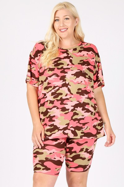PLUS SIZE ARMY PRINT 2 PIECE SETS - orangeshine.com