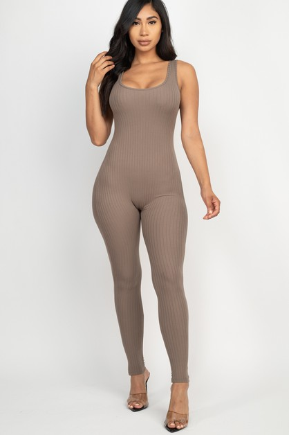 Scoop Neck bodycon Jumpsuit - orangeshine.com