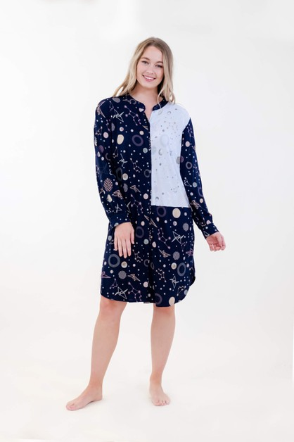 Dual Print Mandarin Collar Dress - orangeshine.com