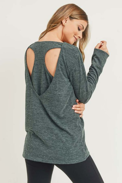Long Sleeve Back Detail Heather Knit - orangeshine.com