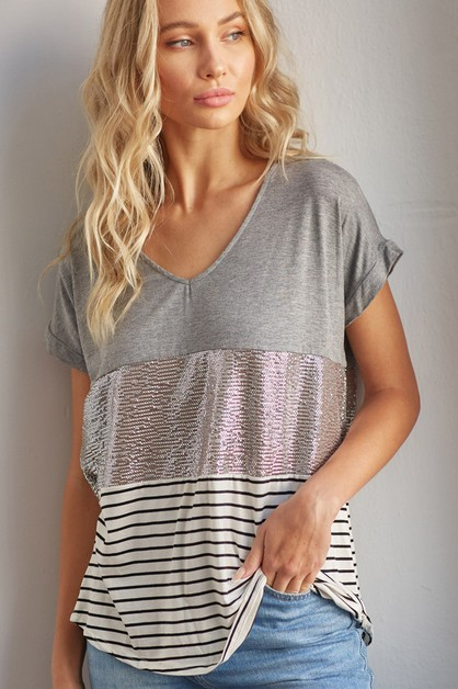 Sequins and Stripe Colo Block Top - orangeshine.com