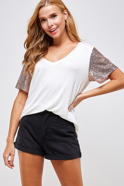 Sequin Sleeve V-neck Top - orangeshine.com