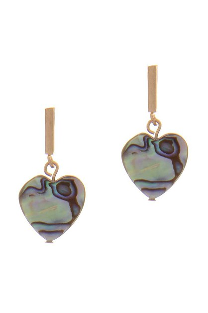 HEART MOTHER OF THE PEARL EARRING - orangeshine.com