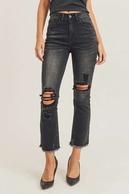 HIGH RISE DISTRESSED ANKLE STRAIGHT - orangeshine.com
