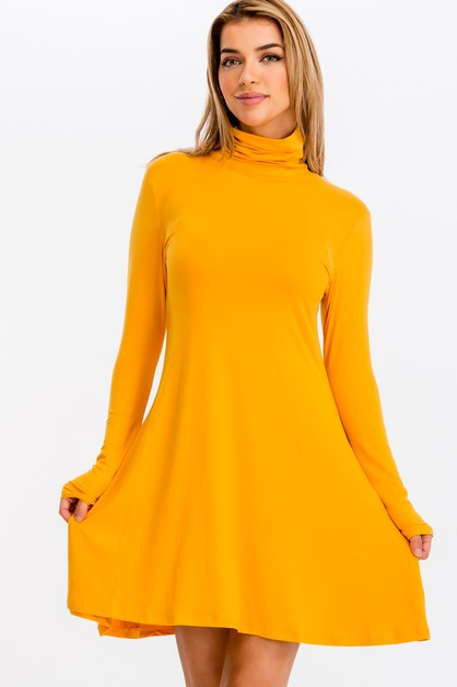 Mock Neck Flare Mini Dress - orangeshine.com