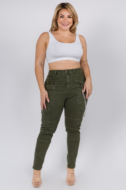 HIGH WAIST SKINNY PANTS WITH CHAIN - orangeshine.com