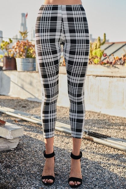 Waist Elastic Band Plaid Print Leggings - orangeshine.com