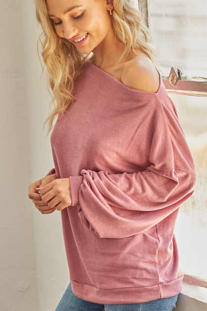 Boat Neck Long Sleeve Top - orangeshine.com