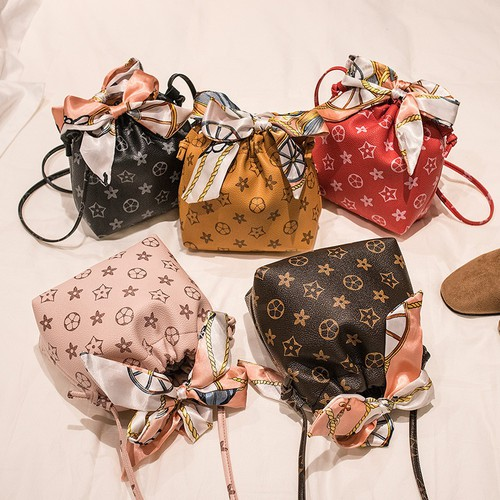 Printed scarf bow knot Mini  purses - orangeshine.com