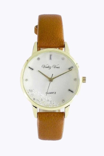 Floating Stone Leather Band Watch - orangeshine.com