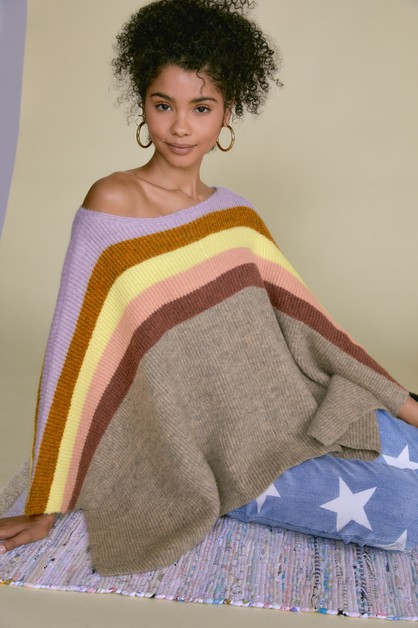 COLOR BLOCK LOOSE PONCHO - orangeshine.com