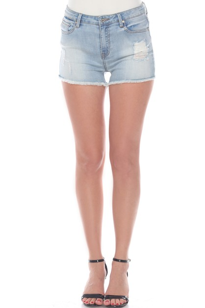 Mid Ripped Stretch Denim Shorts  - orangeshine.com