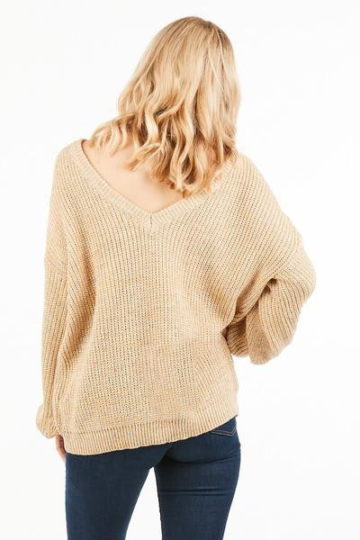 WIDE BACK OPEN KNIT SWEATER - orangeshine.com