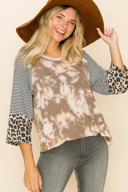 Relaxed Fit Tie-Dye Print Top With S - orangeshine.com