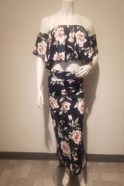 Floral print 2-piece set with off th - orangeshine.com