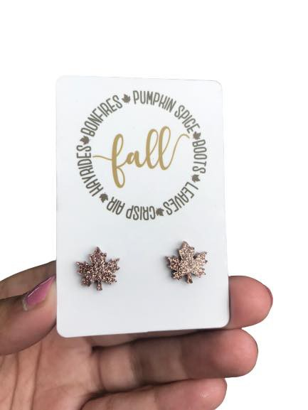 Rose Gold Leaf Studs for Fall - orangeshine.com