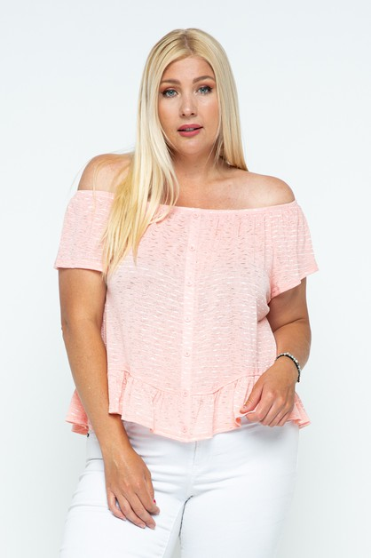 OFF SHOULDER BUTTON TOP WITH RUFFLE - orangeshine.com